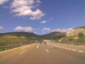 windmills on the motorway near Leon